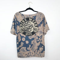 Hand dyed bike week graphic tee, large