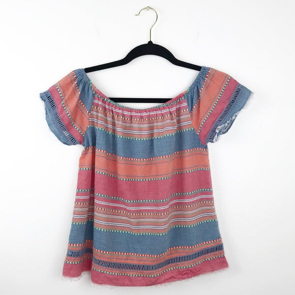 Anthropologie DRA striped frayed blouse, small