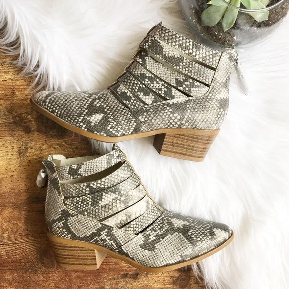 Fergalicious faux leather snakeskin booties, 6