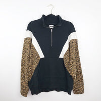 American Eagle leopard print pullover varsity, large