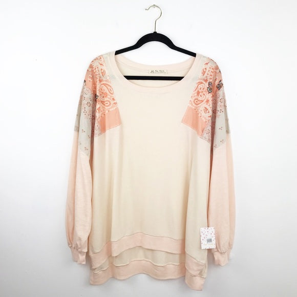 Free people feelin it top XL embroidered pink, extra large