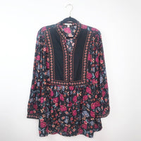 Bohemian floral print button front tunic blouse, 18/20 plus size