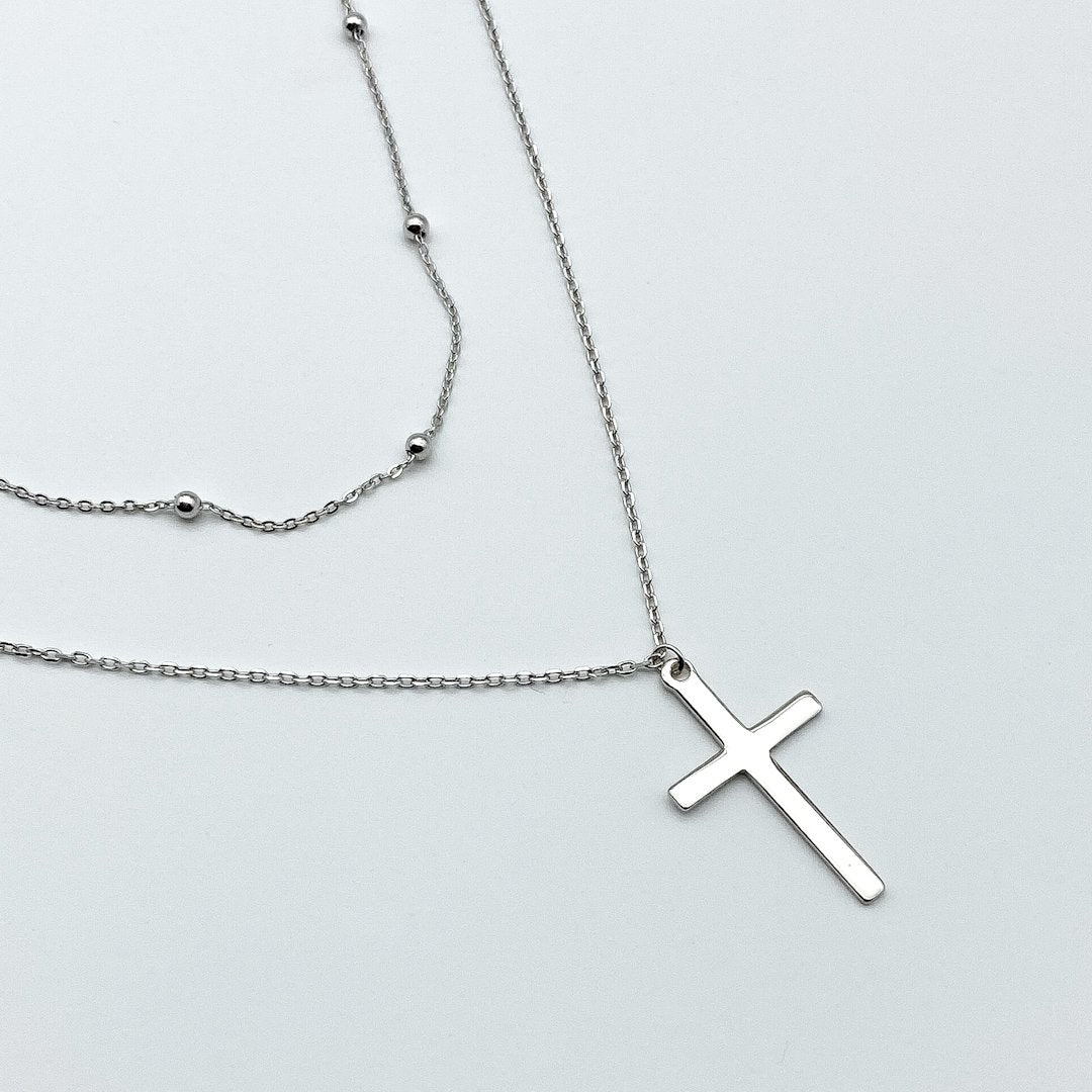 Popcorn Cross Double Necklace