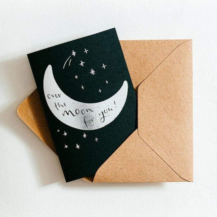 Over The Moon For You Letterpress Congratulations Card
