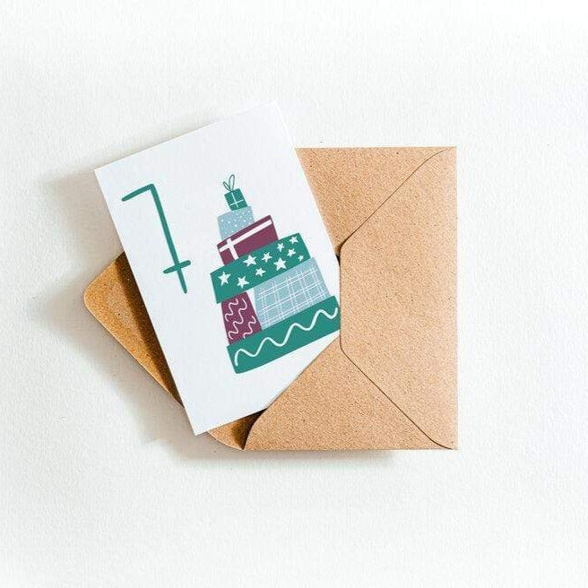 Seven Presents 7th Birthday Letterpress Card