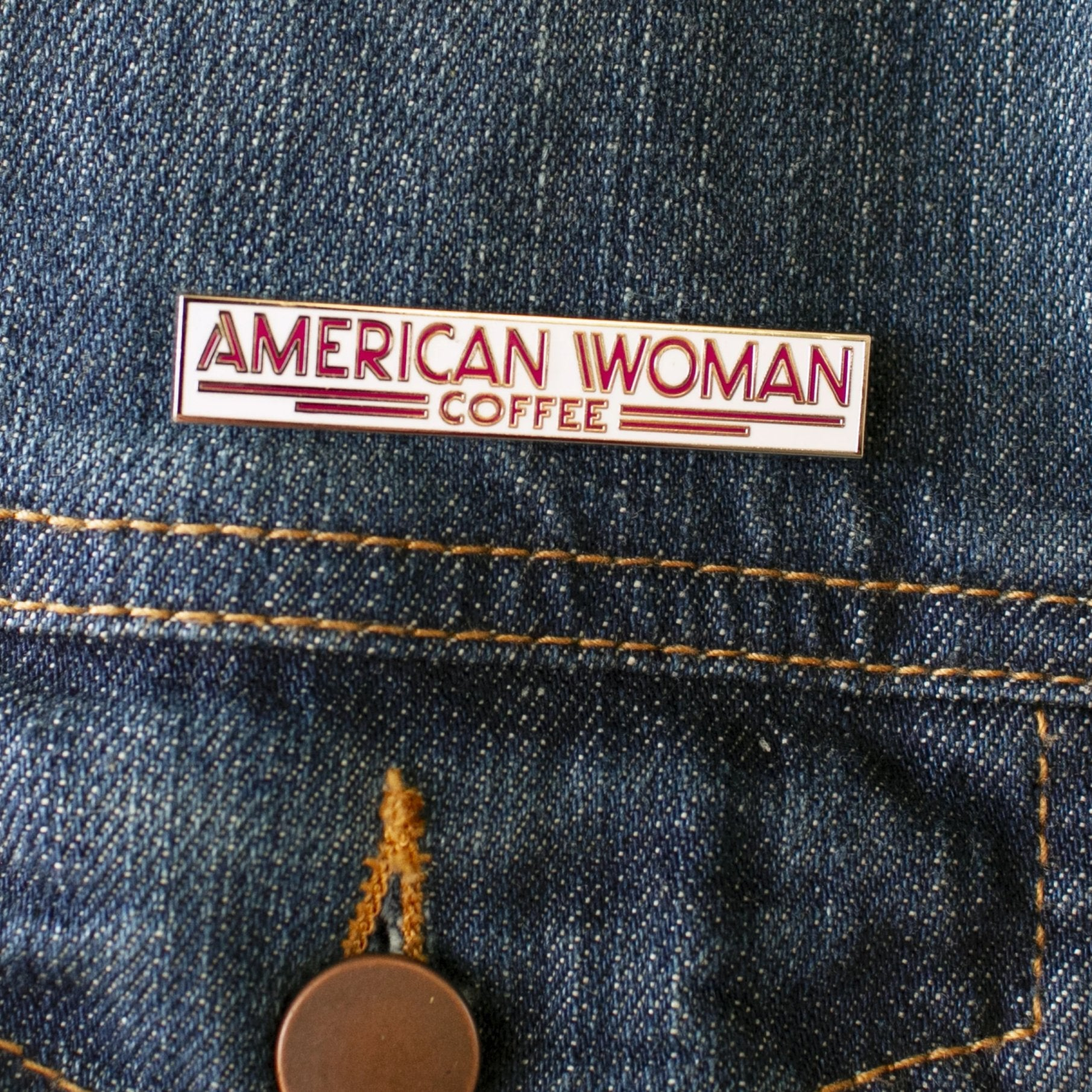 American Woman Coffee Enamel Pin