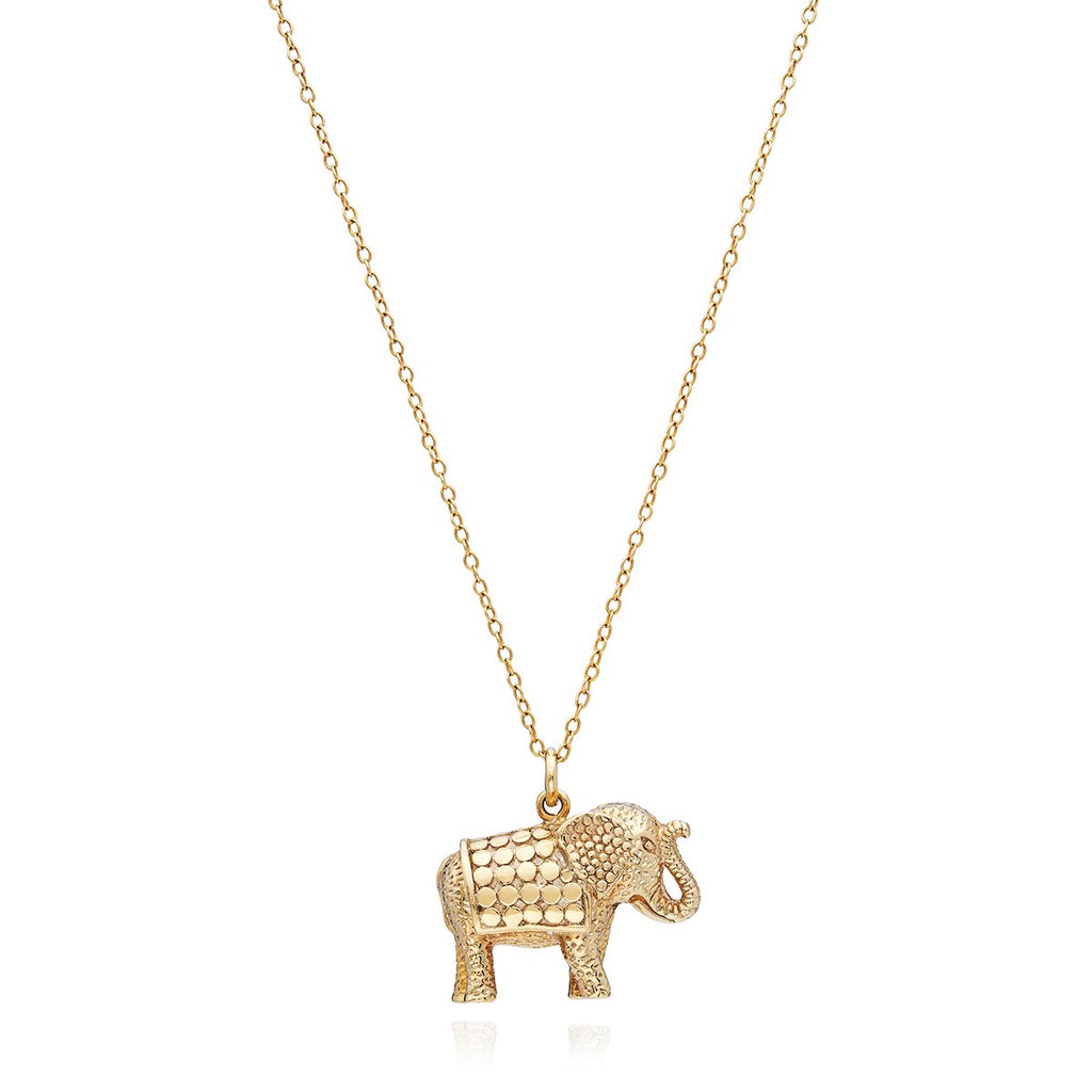 Elephant Charm Necklace - Gold