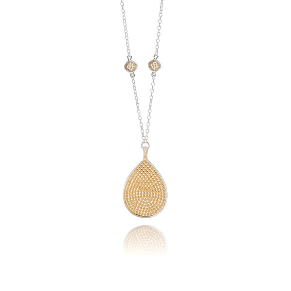 Large Dotted Teardrop and Cushion Necklace - Reversible