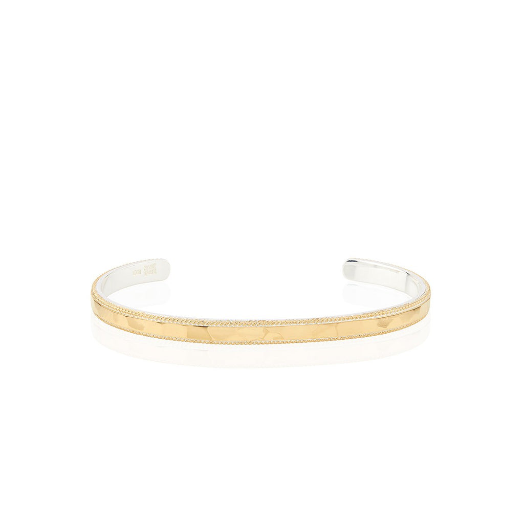 Hammered and Wired Stacking Cuff - Gold