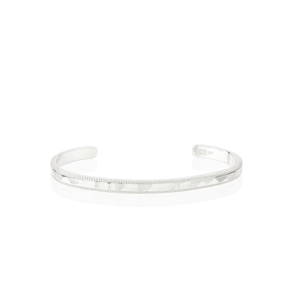Hammered and Wired Stacking Cuff - Silver