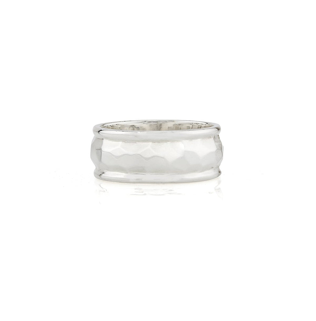 Hammered Band Ring - Silver