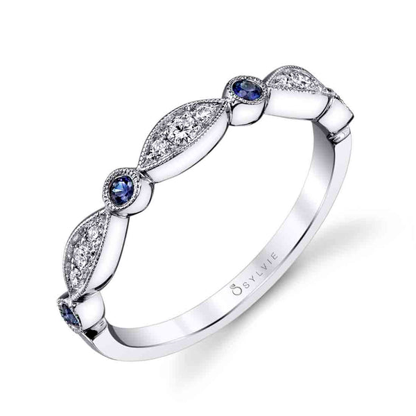 Blue Sapphire and Diamond Platinum Stackable Wedding Band