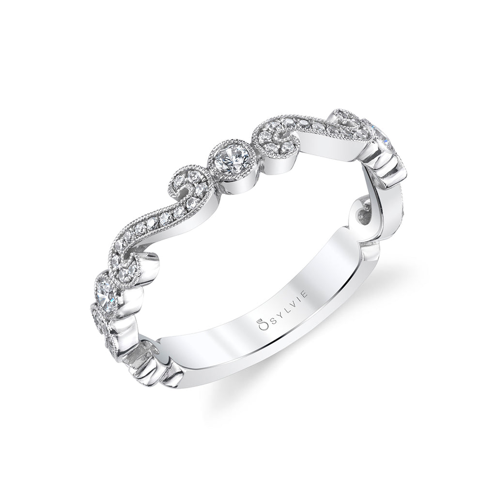 Stackable Diamond Wedding Band with Alternating Scrolls