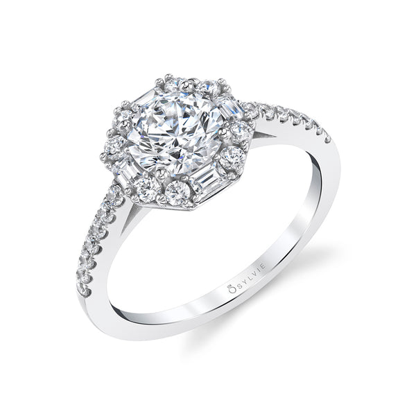 Baguette Halo Diamond Engagement Ring - Kira