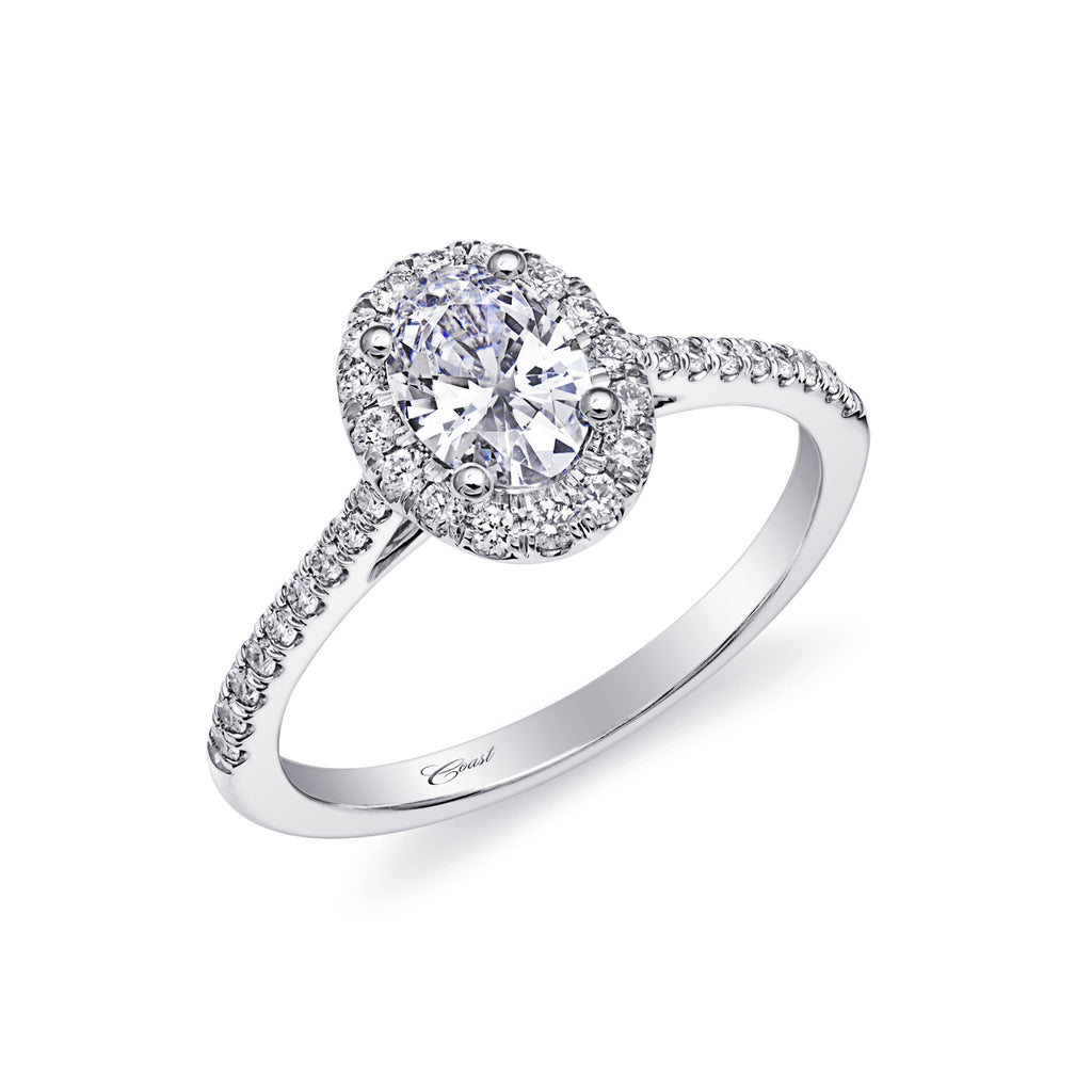 Platinum 1CT Oval Diamond Engagement Ring