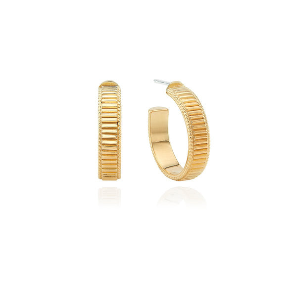 Small Ribbed Hoop Earrings - Gold