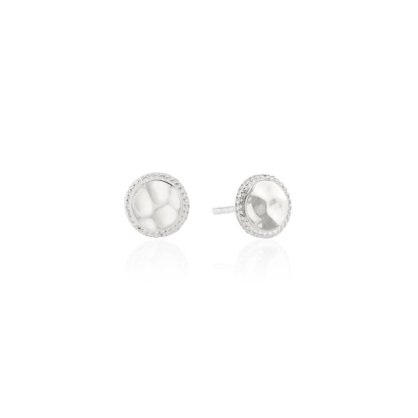 Hammered Stud Earrings - Silver