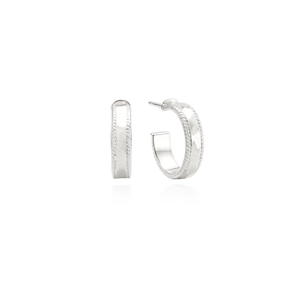 Small Hammered Hoop Earrings - Silver