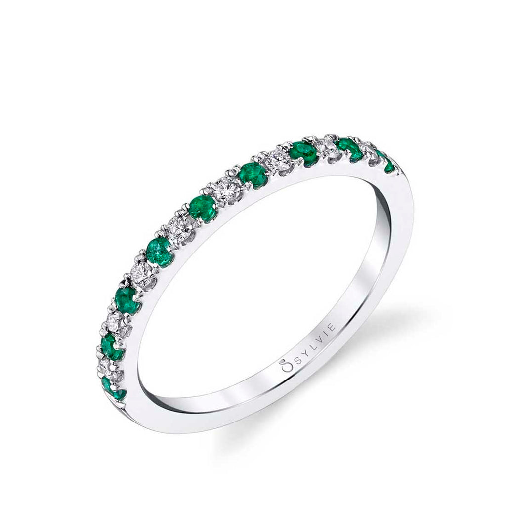 Classic Emerald and Diamond Wedding Band
