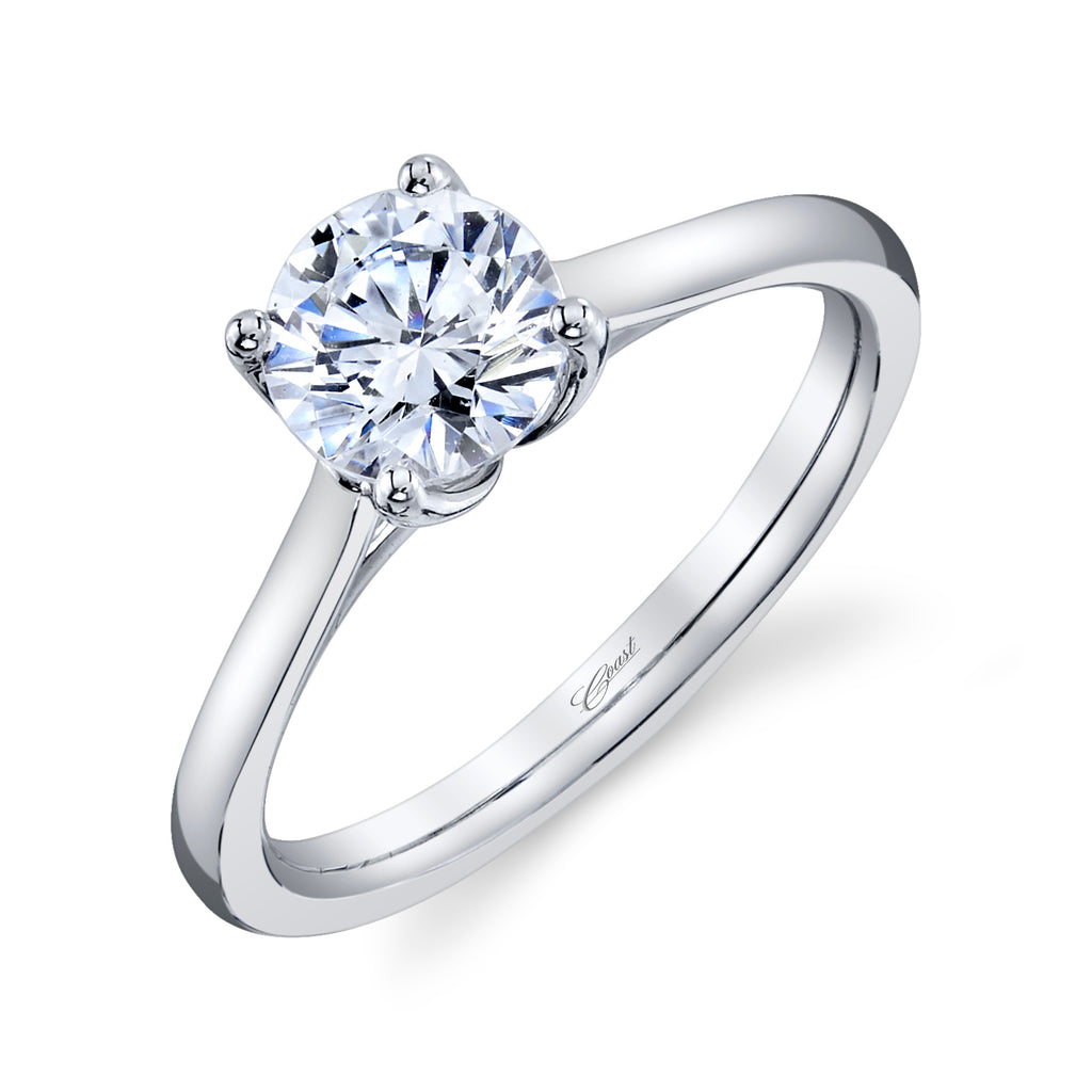 14K White Gold Solitaire 1CT Diamond Engagement Ring LC20284