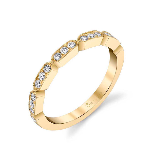 Modern White Gold Diamond Wedding Band - Michelle