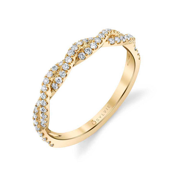 Modern Spiral Diamond Wedding Band