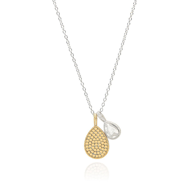 Hammered and Dotted Double Drop Necklace - Reversible