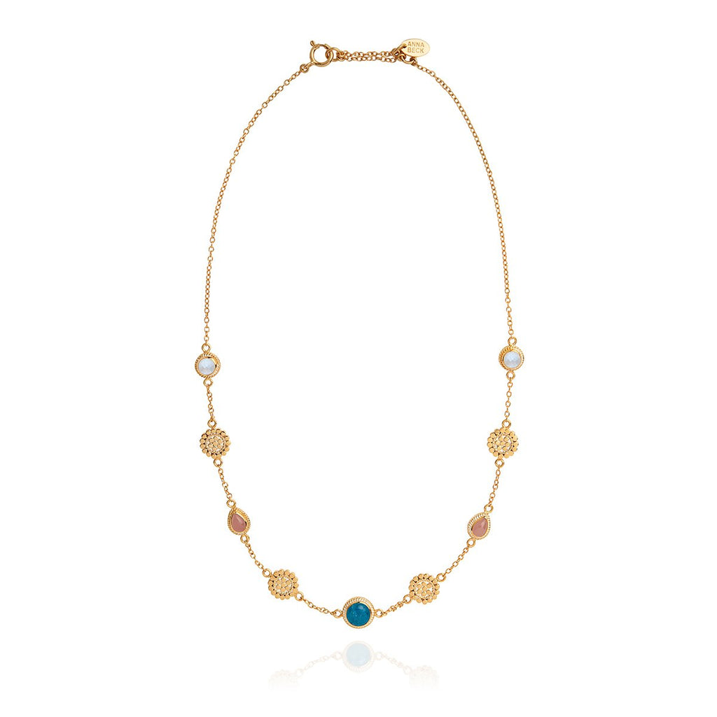Apatite, Guava, and Moonstone Station Necklace
