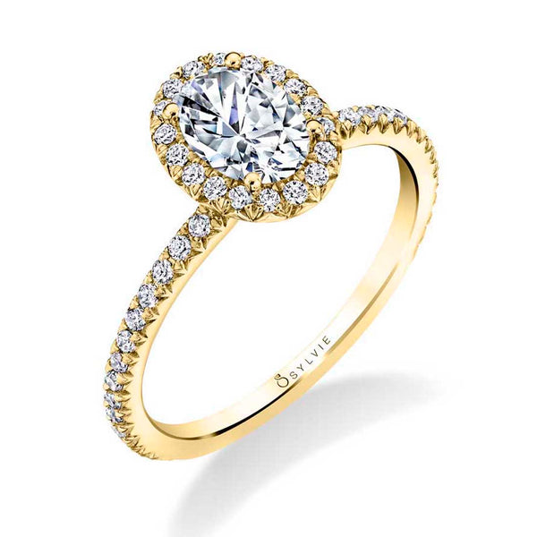 Classic Oval Engagement Ring with Halo - Vivian