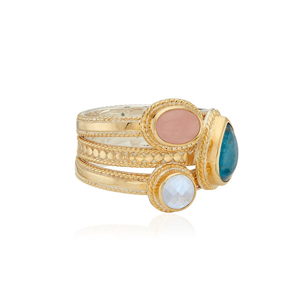 Apatite, Guava and Moonstone Faux Stacking Ring