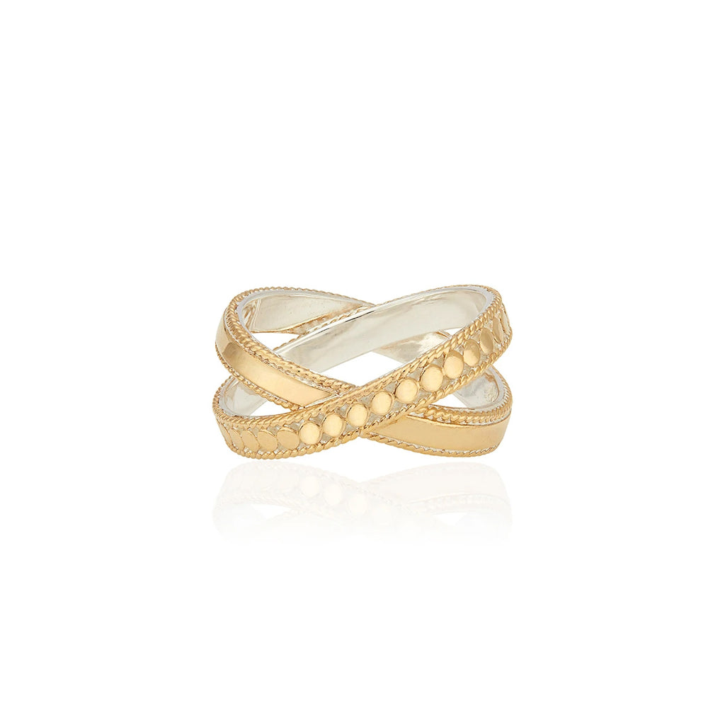 Mixed Metal Cross Ring - Gold