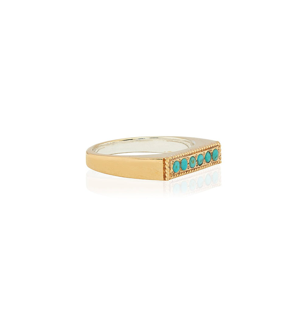 Turquoise Pavé Bar Stacking Ring - Gold