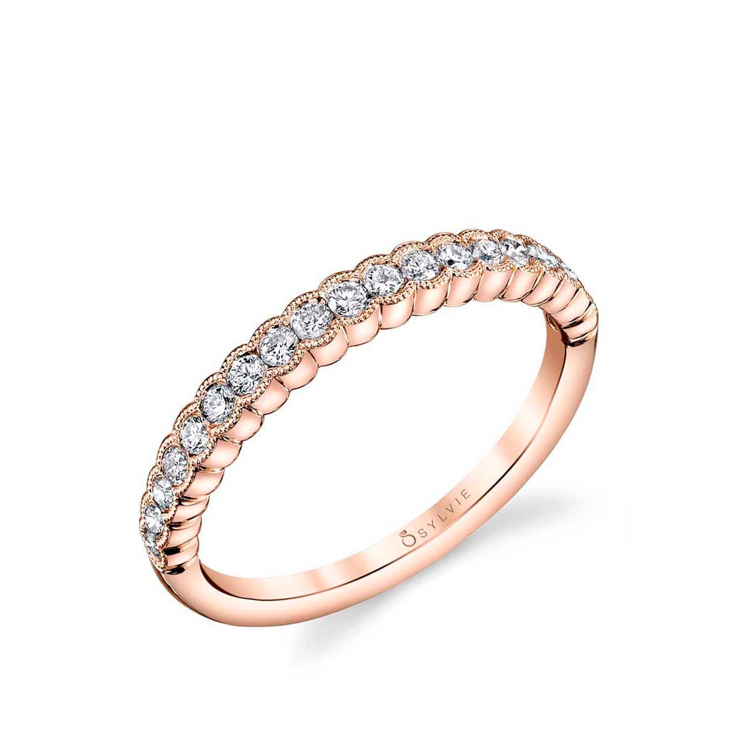 White Gold Diamond Stackable Wedding Band - Angeline