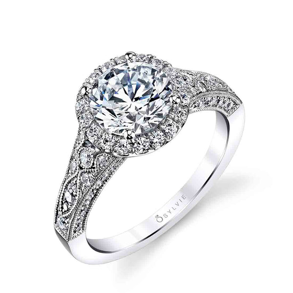 Vintage Inspried Halo Diamond Engagement Ring -Cheri