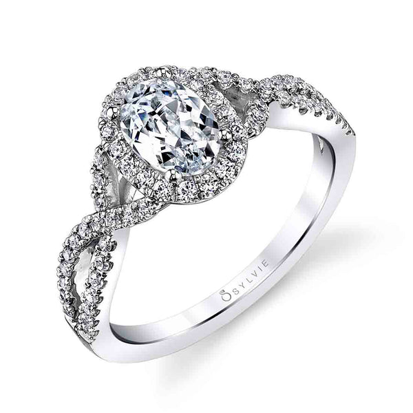 Oval Shaped Spiral Engagement Ring - Jocelina