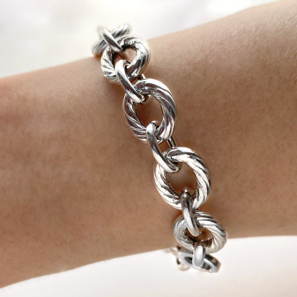 Silver Textured Italian Cable Link Bracelet