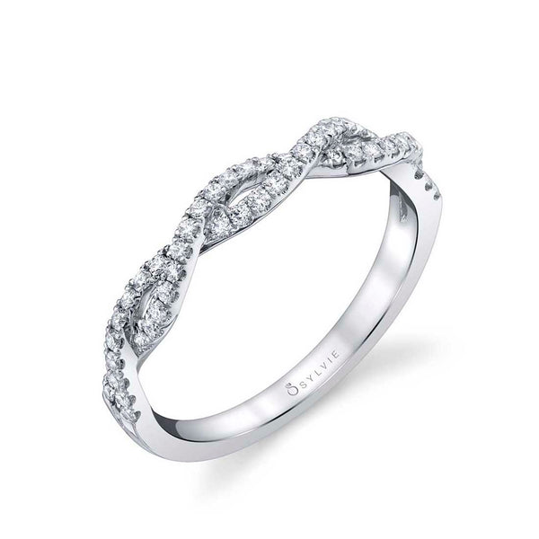 White Gold Diamond Classic Spiral Wedding Band - Sylvia
