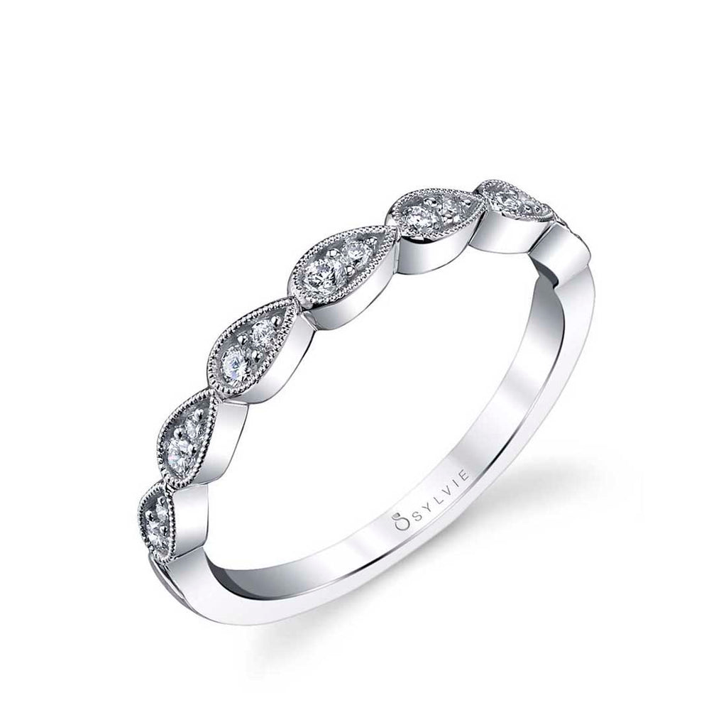 White Gold and Diamond Stackable Wedding Band - Gabrielle