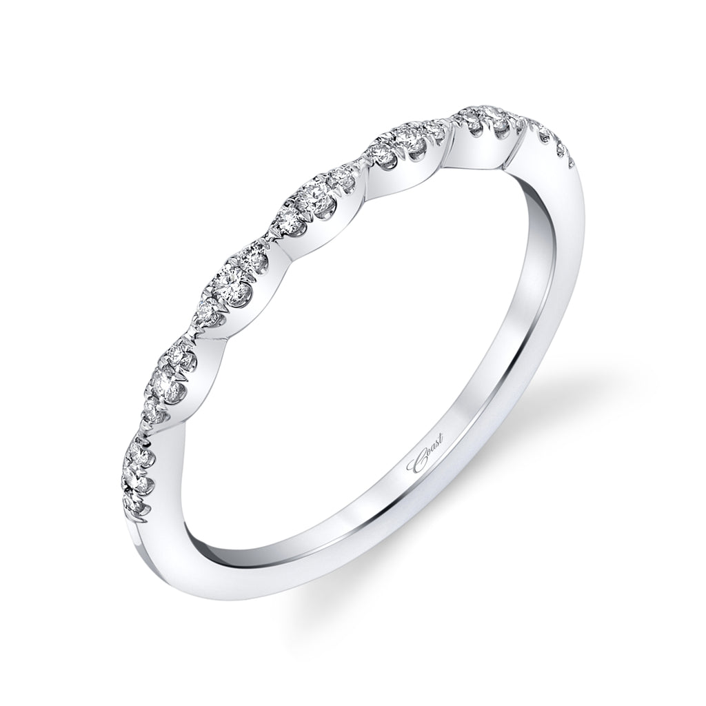 14K White Gold Stackable Wedding Band Scalloped Design