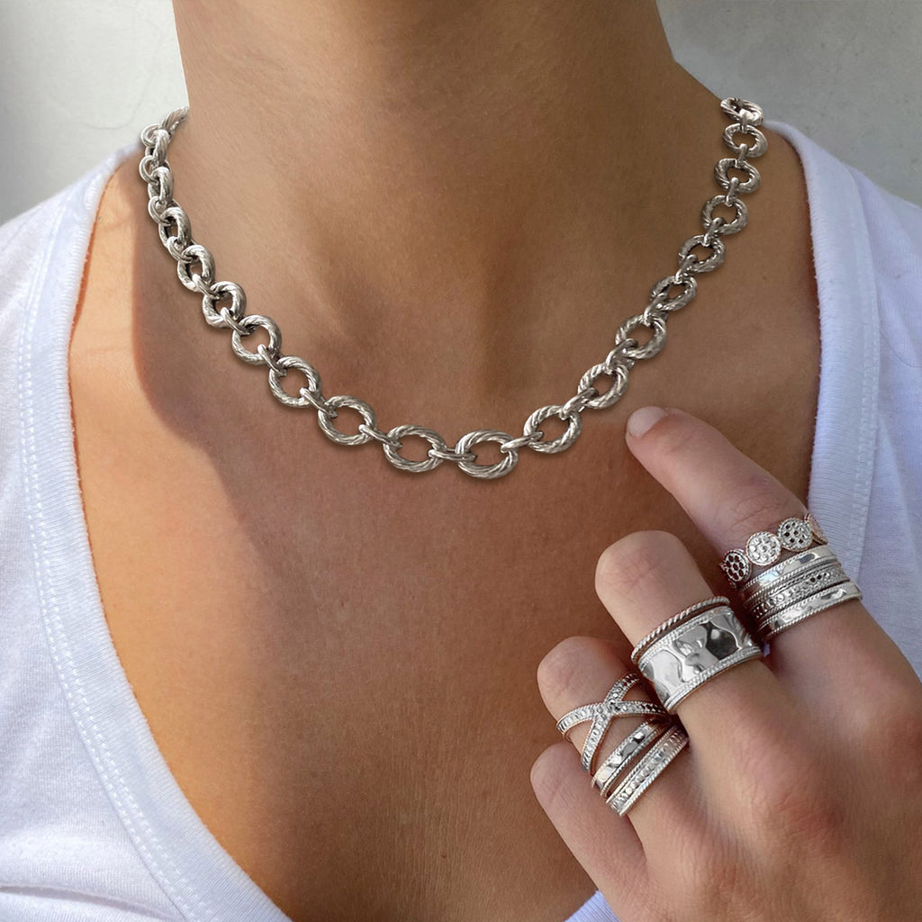 Silver Textured Italian Cable Link Necklace