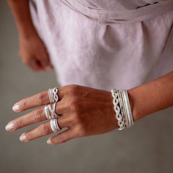 Ribbed Stacking Ring - Silver
