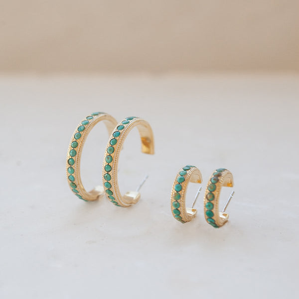 Small Turquoise Pavé Hoop Earrings - Gold