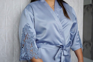 Bridal Robes | Soft Satin Lace Trim