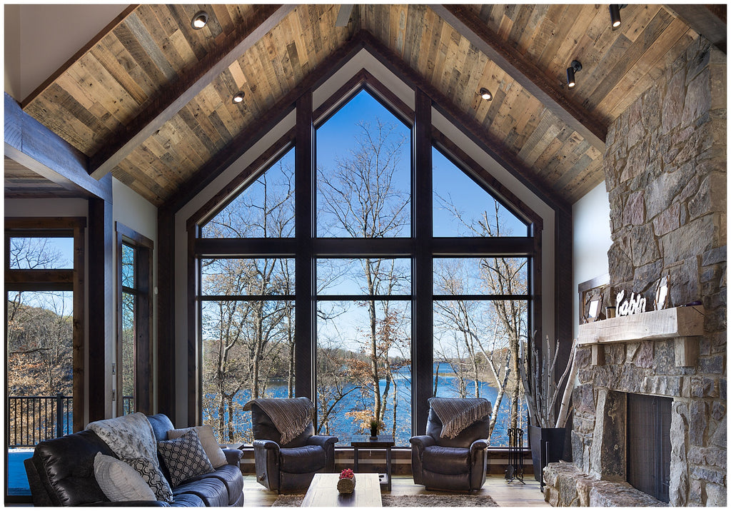 vaulted ceiling - reclaimed wood ceiling paneling - rustic lake home - dakota timber co