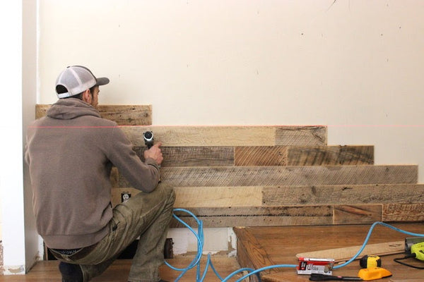 Reclaimed Wood Accent Wall Being Installed