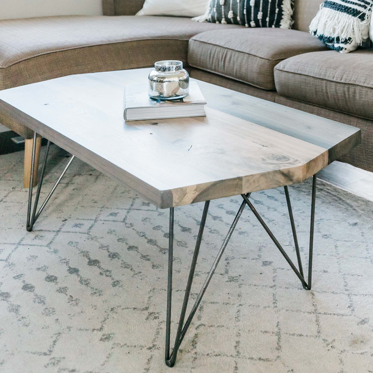 Modern Wood Coffee Table With Hairpin Legs - Dakota Timber Co. - Made in USA