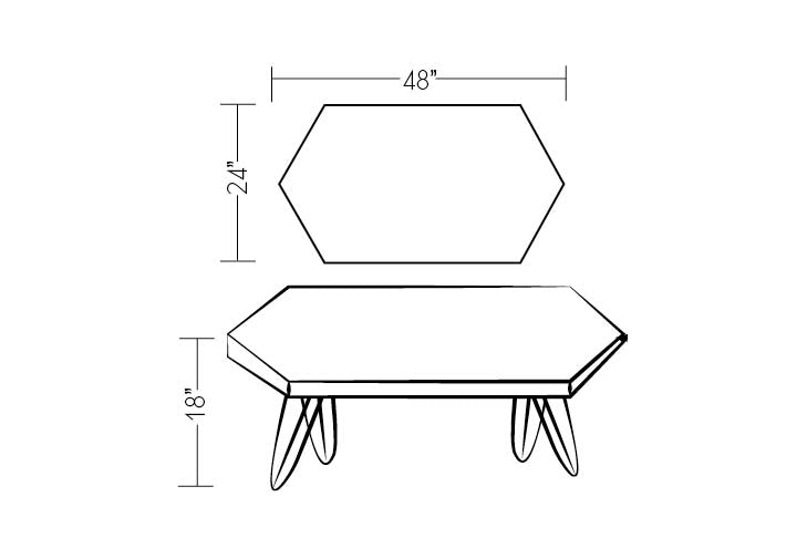 Modern Wood Coffee Table With Hairpin Legs Drawing - Dakota Timber Co. - Made in USA