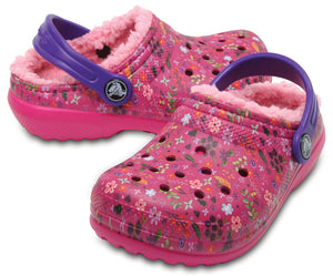 SALE - Crocs KIDS Classic Lined Graphic Clog - Candy Pink/Peony - 204817-6MW