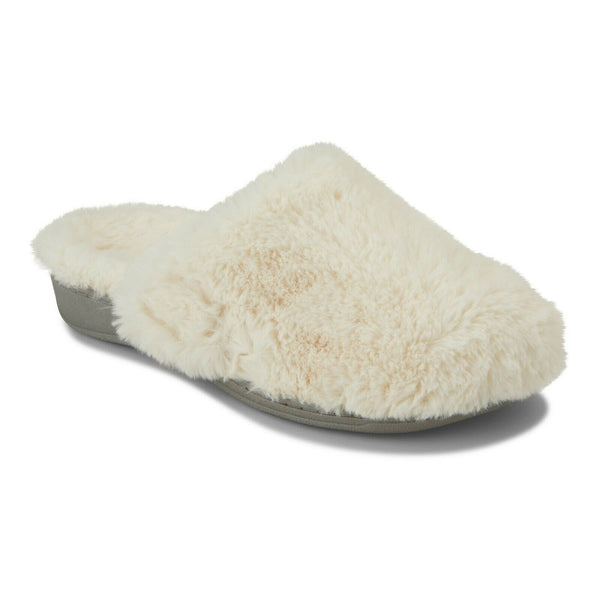 VIONIC INDULGE GEMMA PLUSH Soft Faux Fur Mule Orthotic Footbed Slippers Ladies