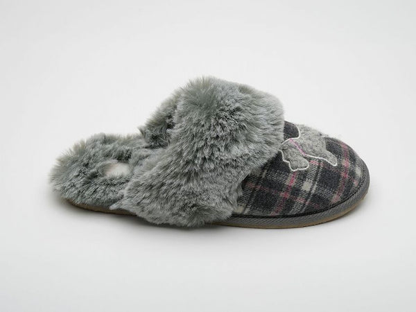 Lazy Dogz Scottie Grey Mule Slippers Ladies